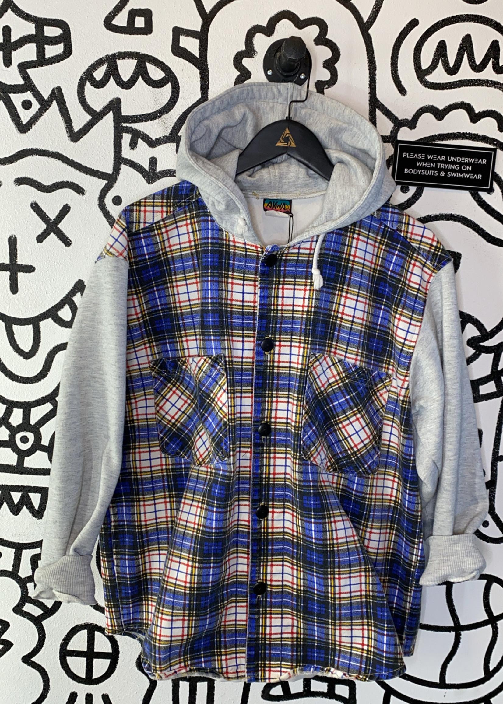 Akwa USA Vintage Plaid Button Up Grey Hood/Sleeves Jacket L