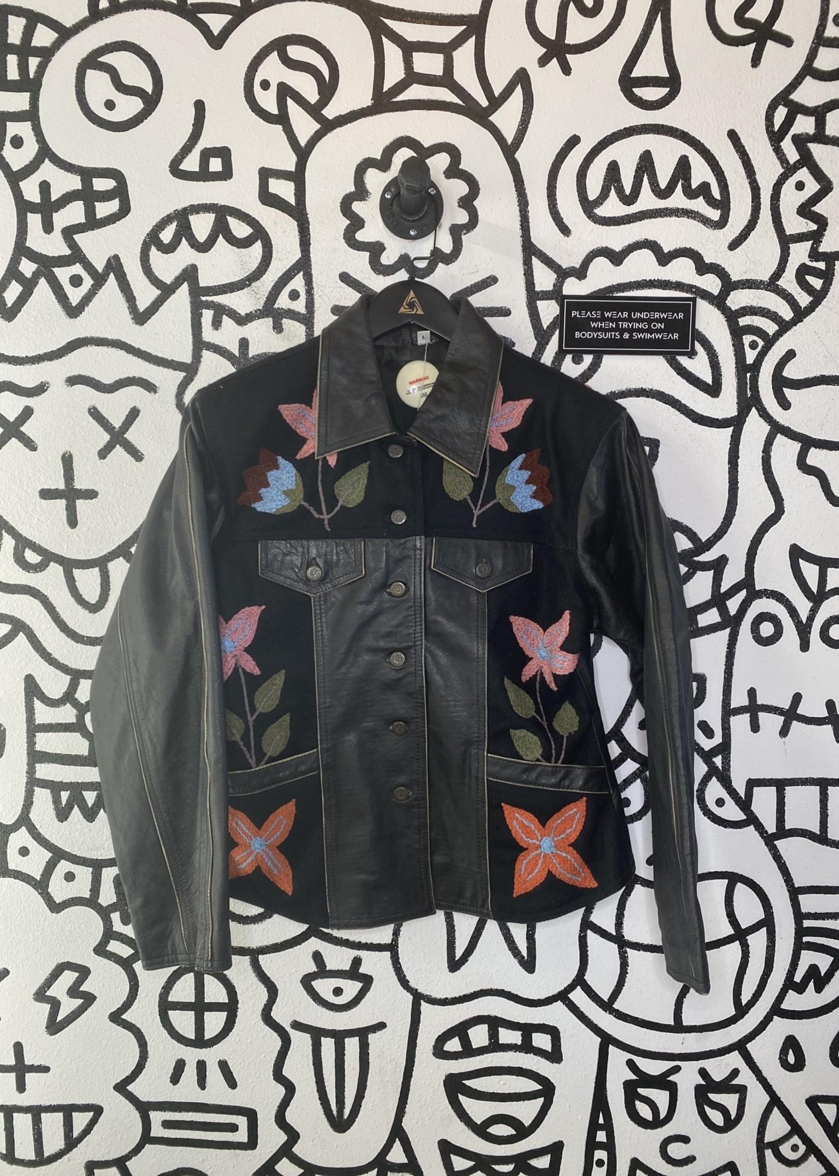 Vintage No Label Black Leather Flower Embroidery Jacket L
