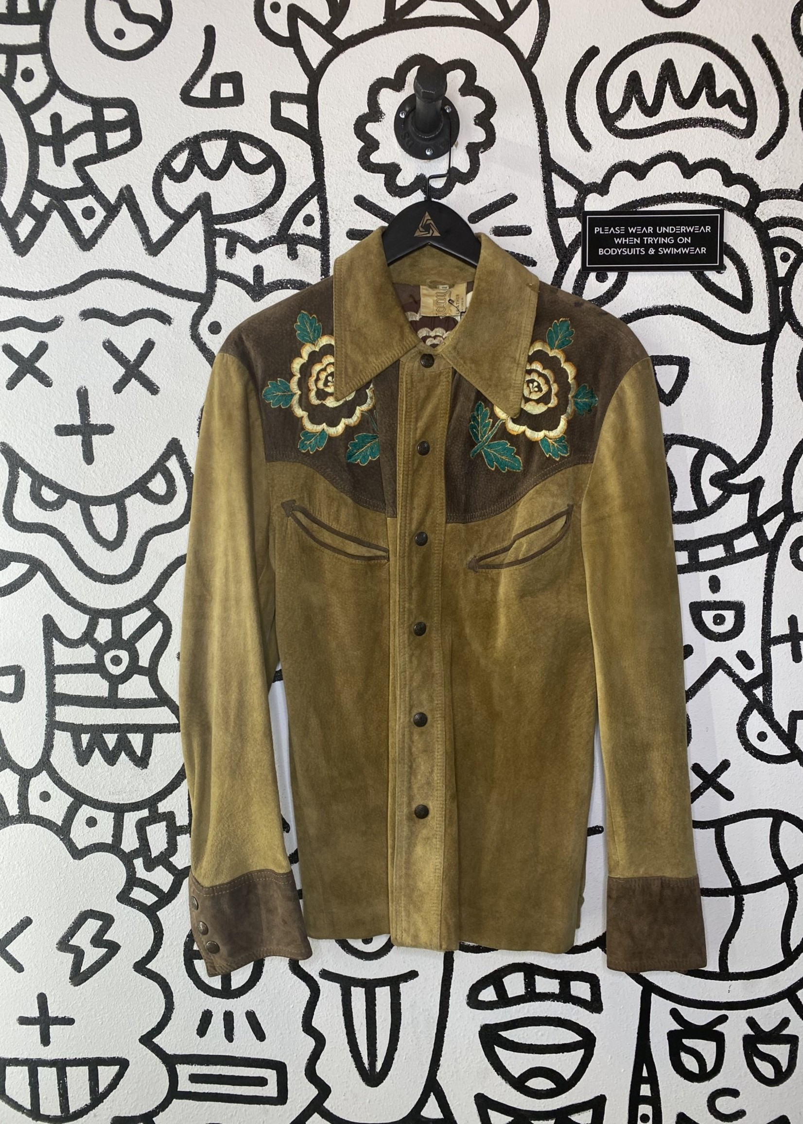 Vintage Leather Western Style Button Down Long Sleeve L
