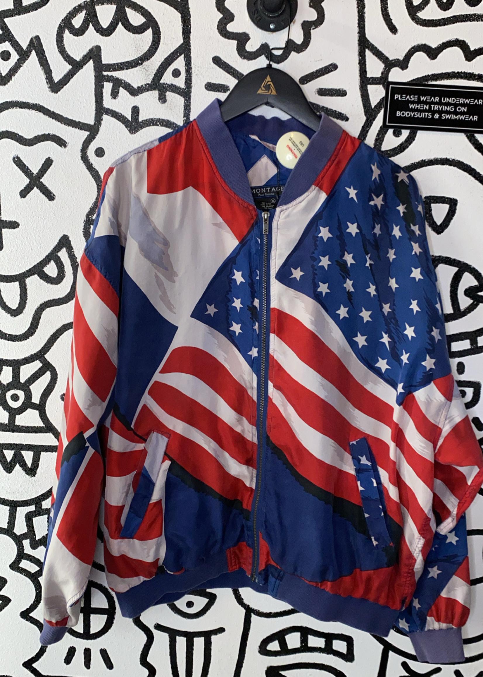 Montage Vintage American Flag Zip Jacket XL