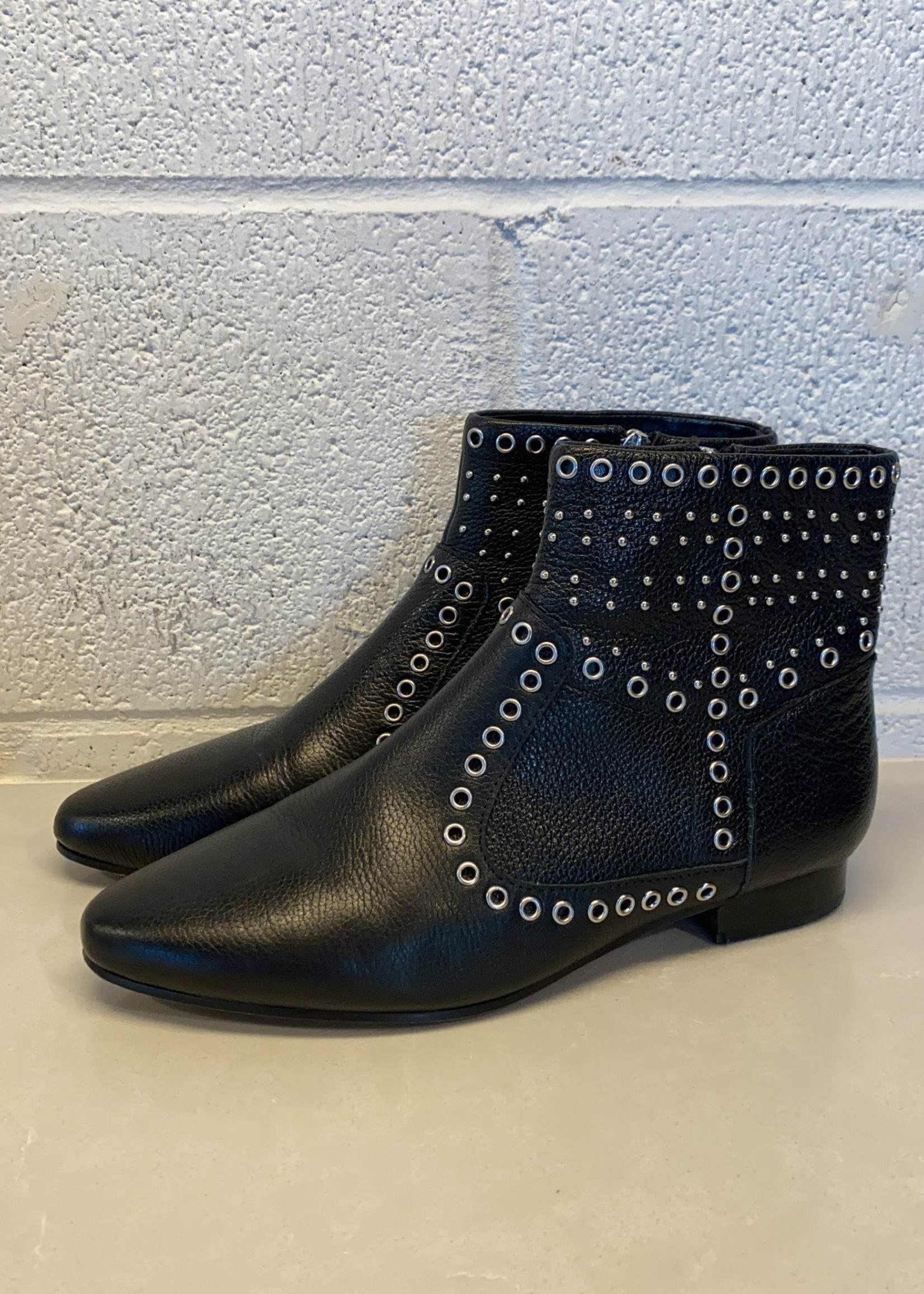 French Connection Black Leather Rivet booties 7.5