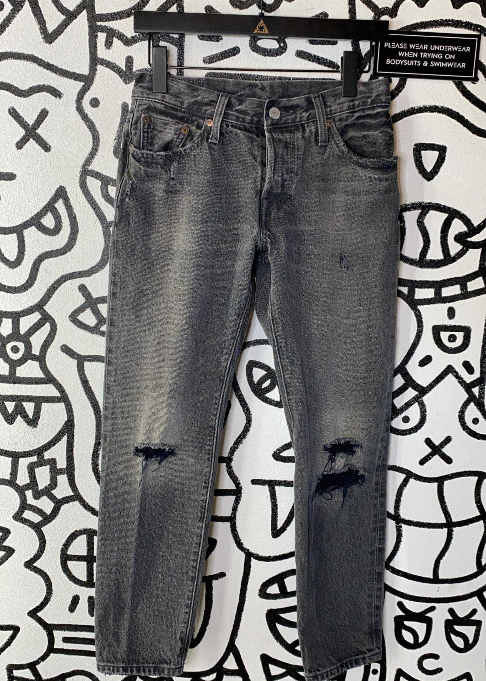 "Levi's Distressed Dark Wash Straight Jeans 24"""