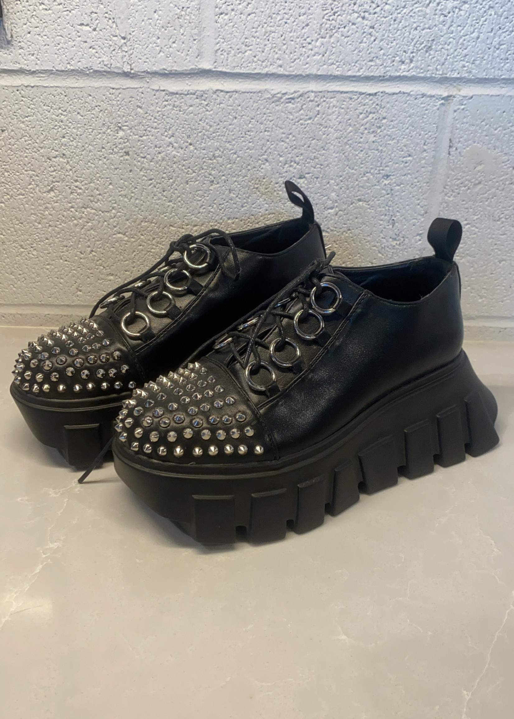 La Moda Black Platform Spike Sneakers 6