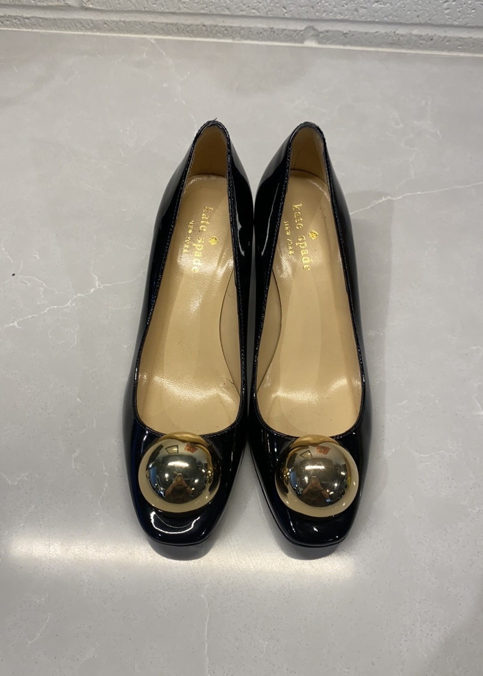 Kate Spade Black Heels with Gold Ball Toe 5.5