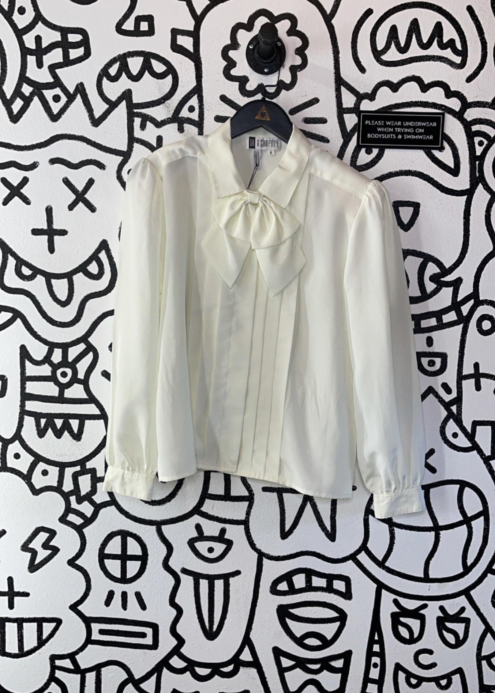 SK & Company white silk neck tie long sleeve top M