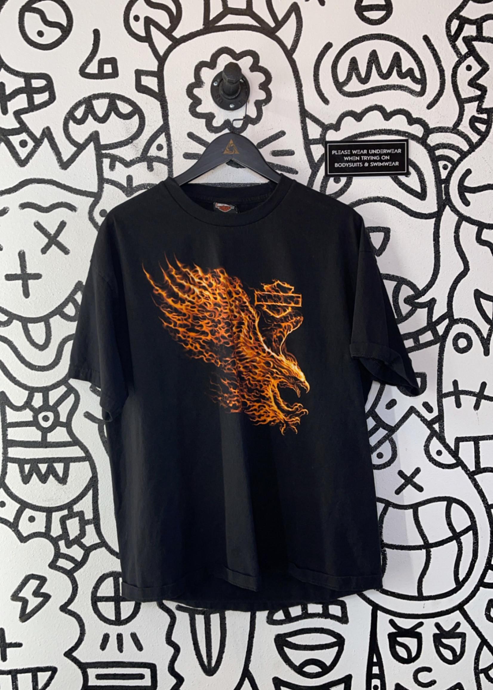 Harley Davidson Flame Eagle Black Tee XL