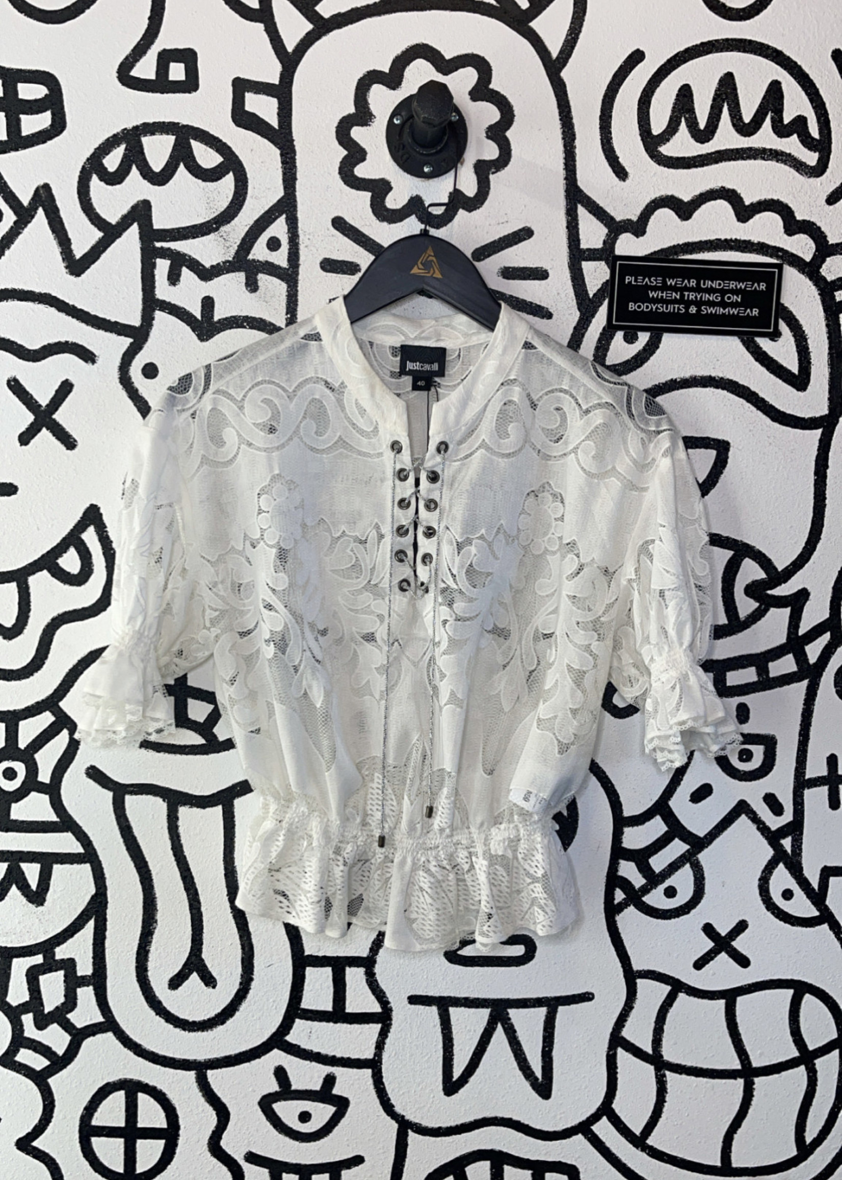 JustCavalli white short sleeve lace blouse (Retail: