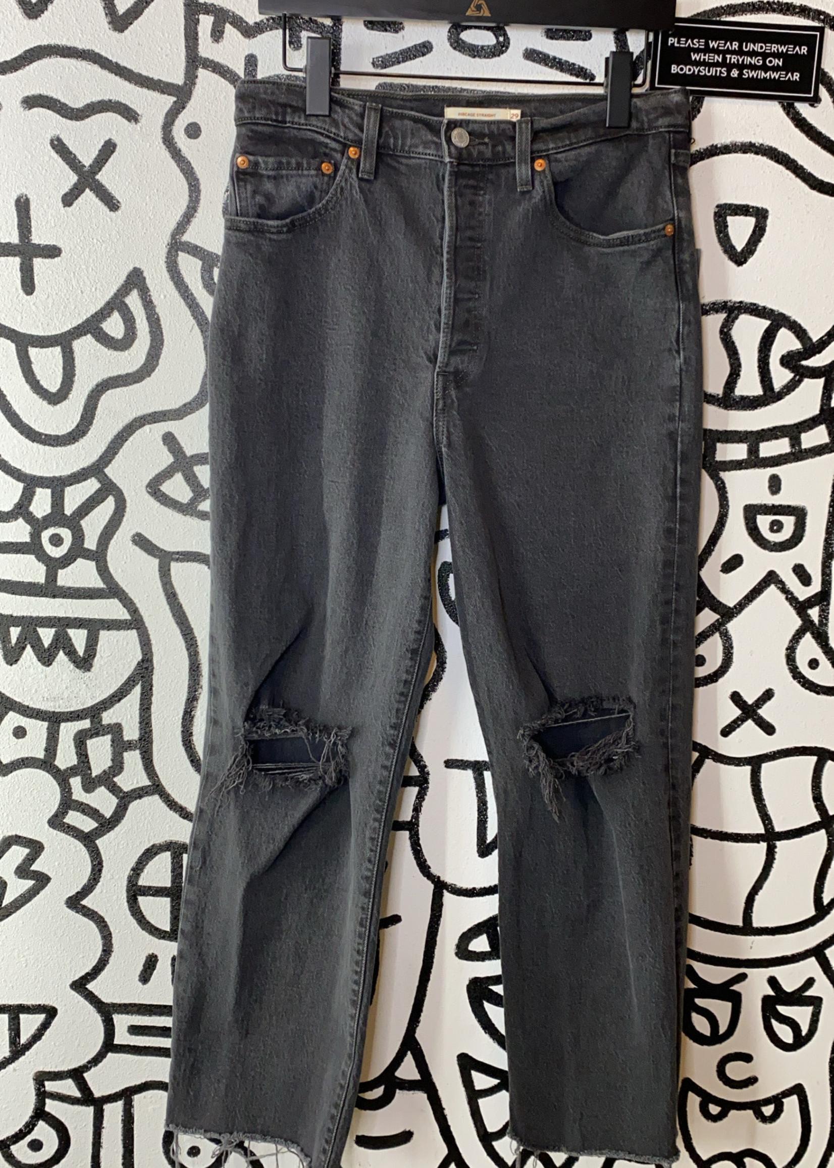 "Levi Ribcage Straight Distressed Black Jeans 29"""