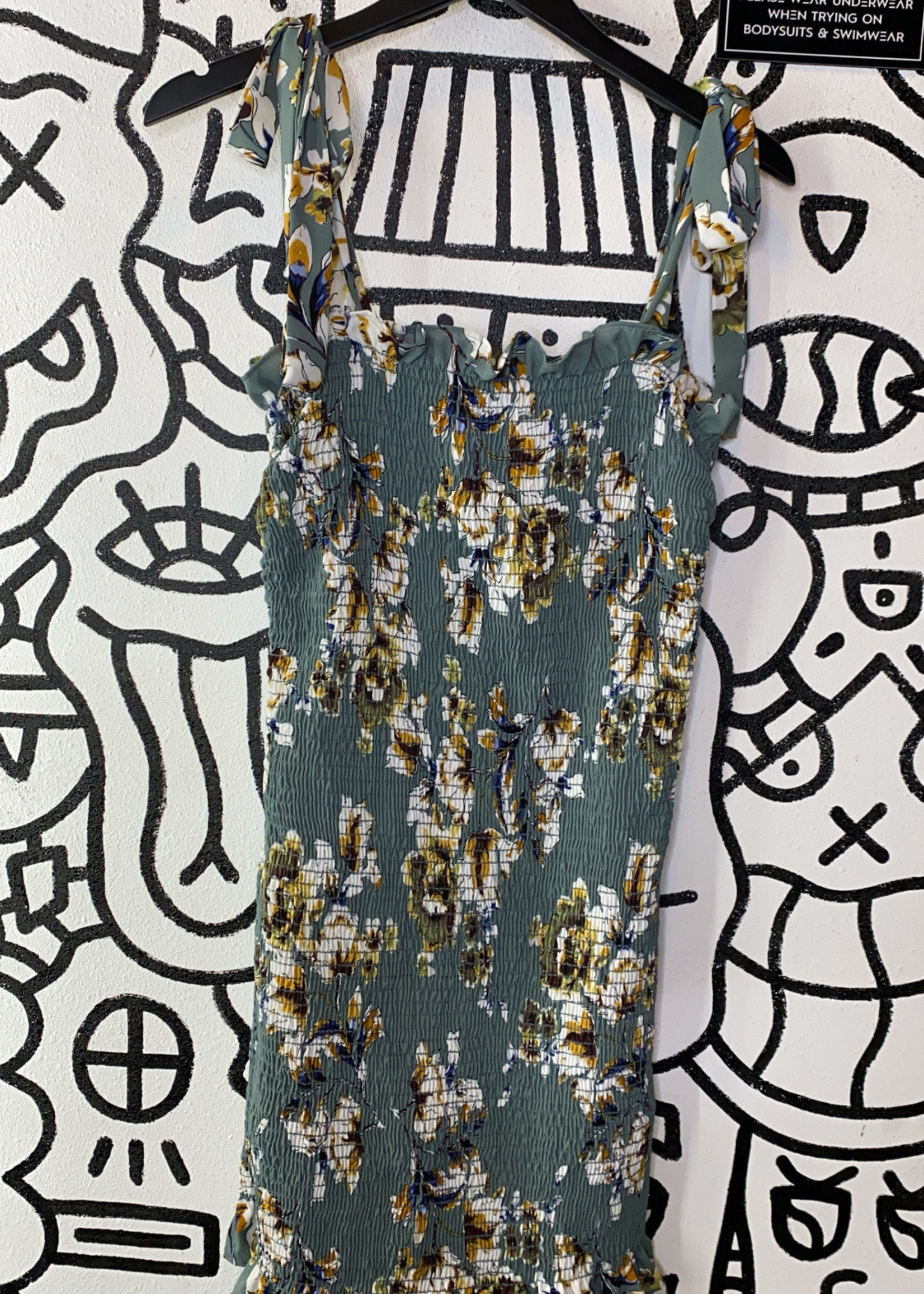 NWT Free People Blue ribbed bodycon floral dress L