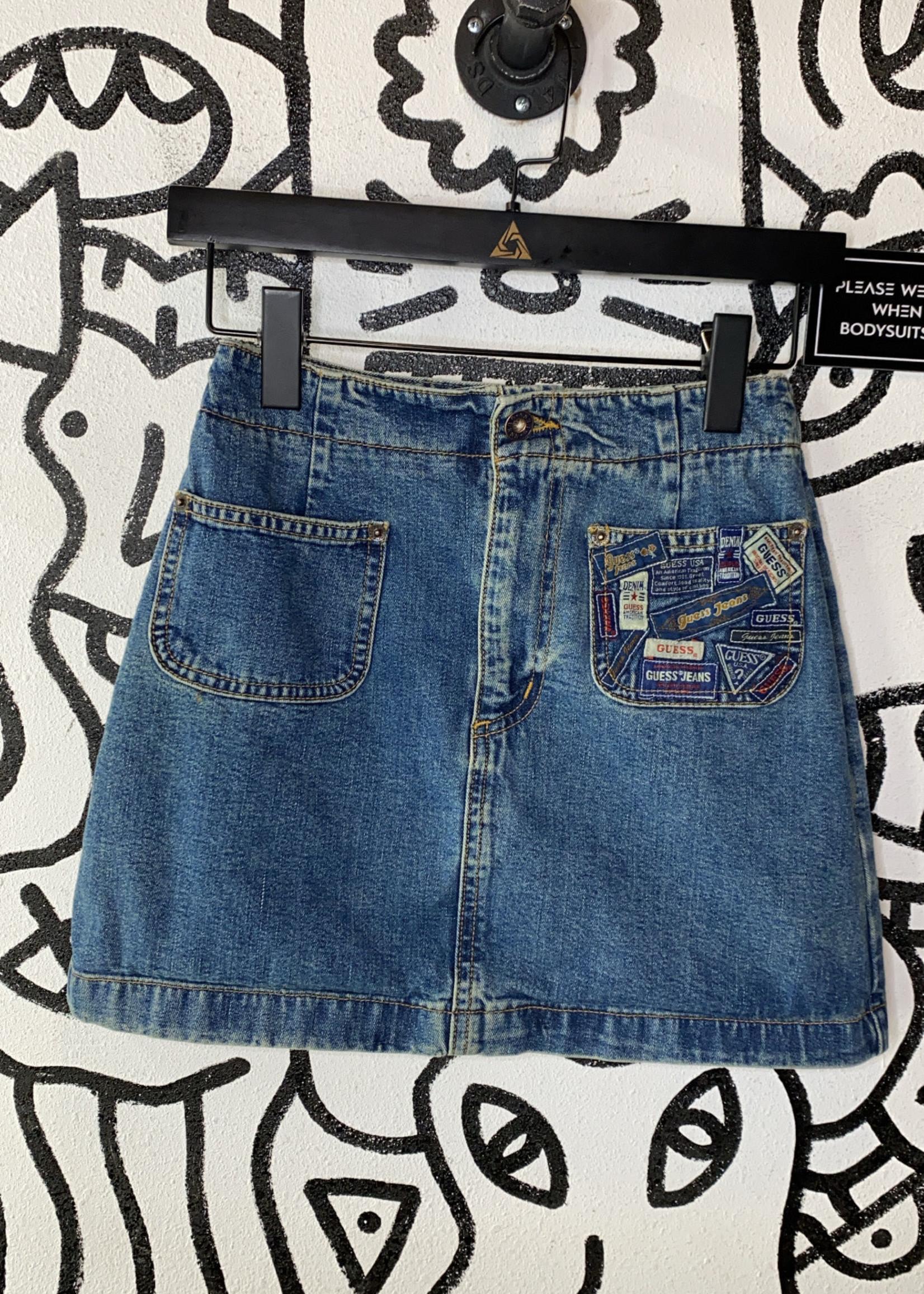 "Vintage Guess Jean Skirt 25"" XS"