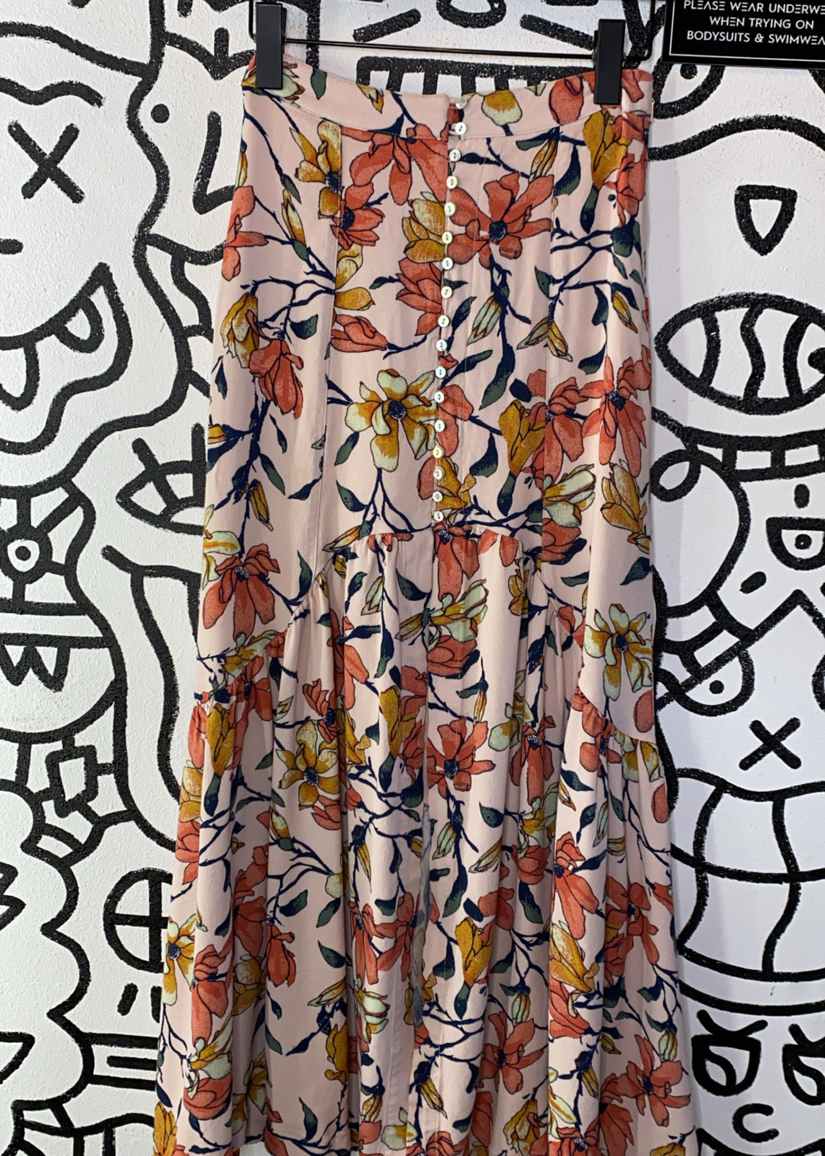 Free People pink floral long skirt XS