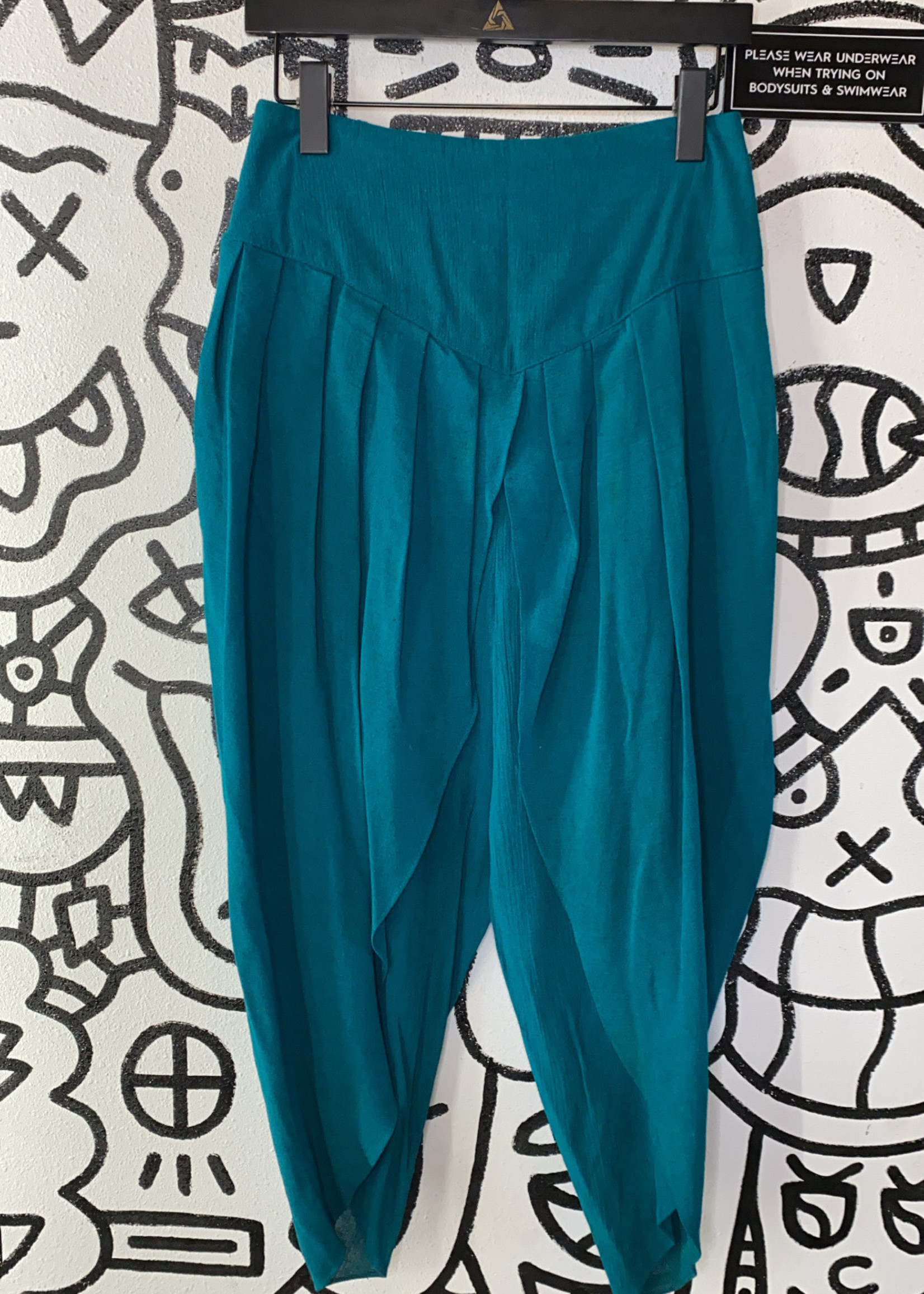 No label teal pleated open leg pants 27