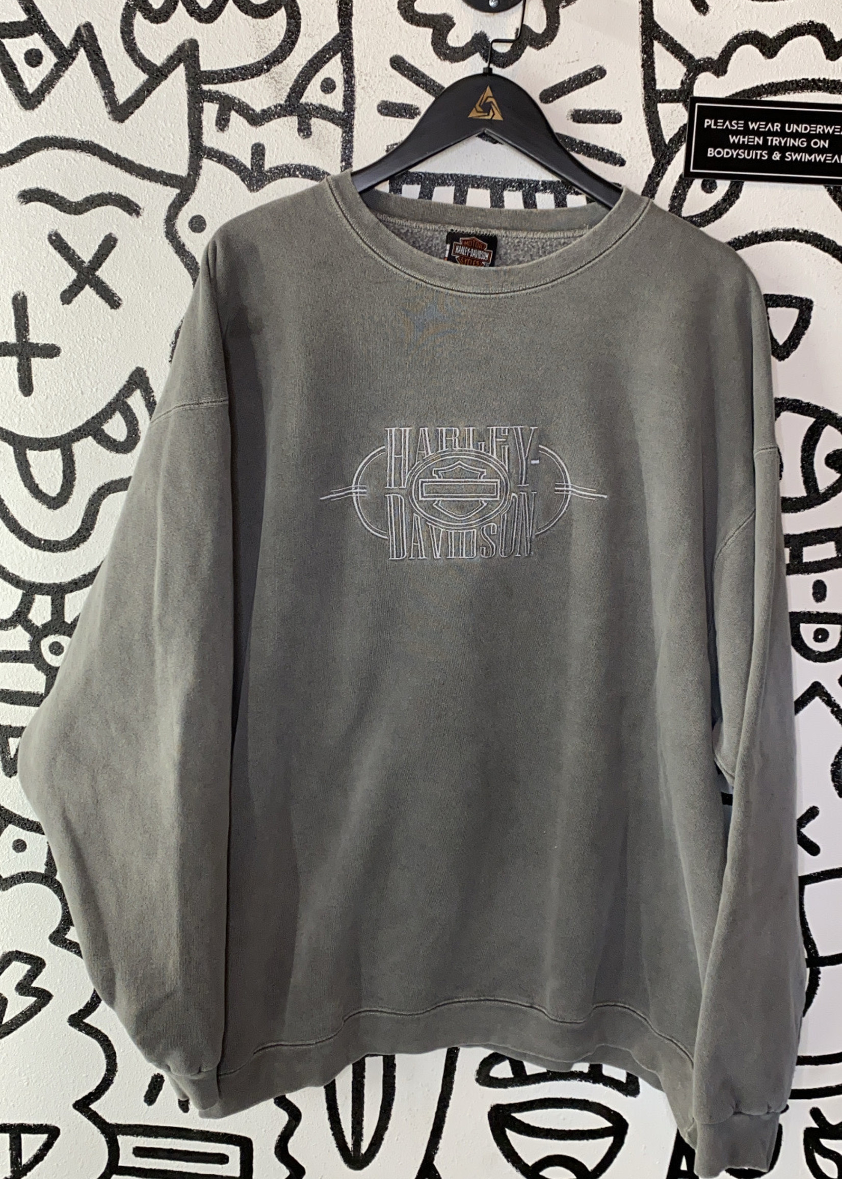 Harley Davidson Grey Embroidered Crewneck XXL