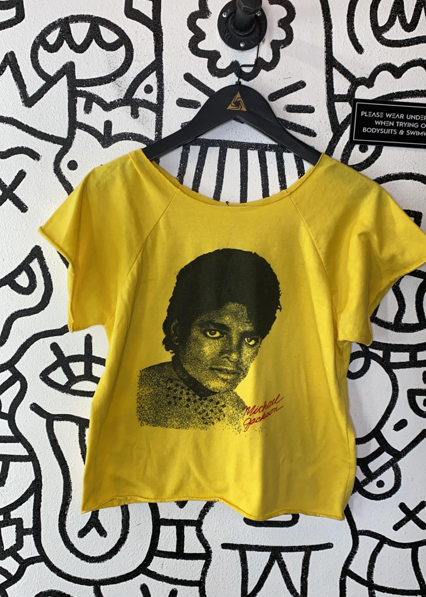 Michael Jackson Crop Yellow Tee M