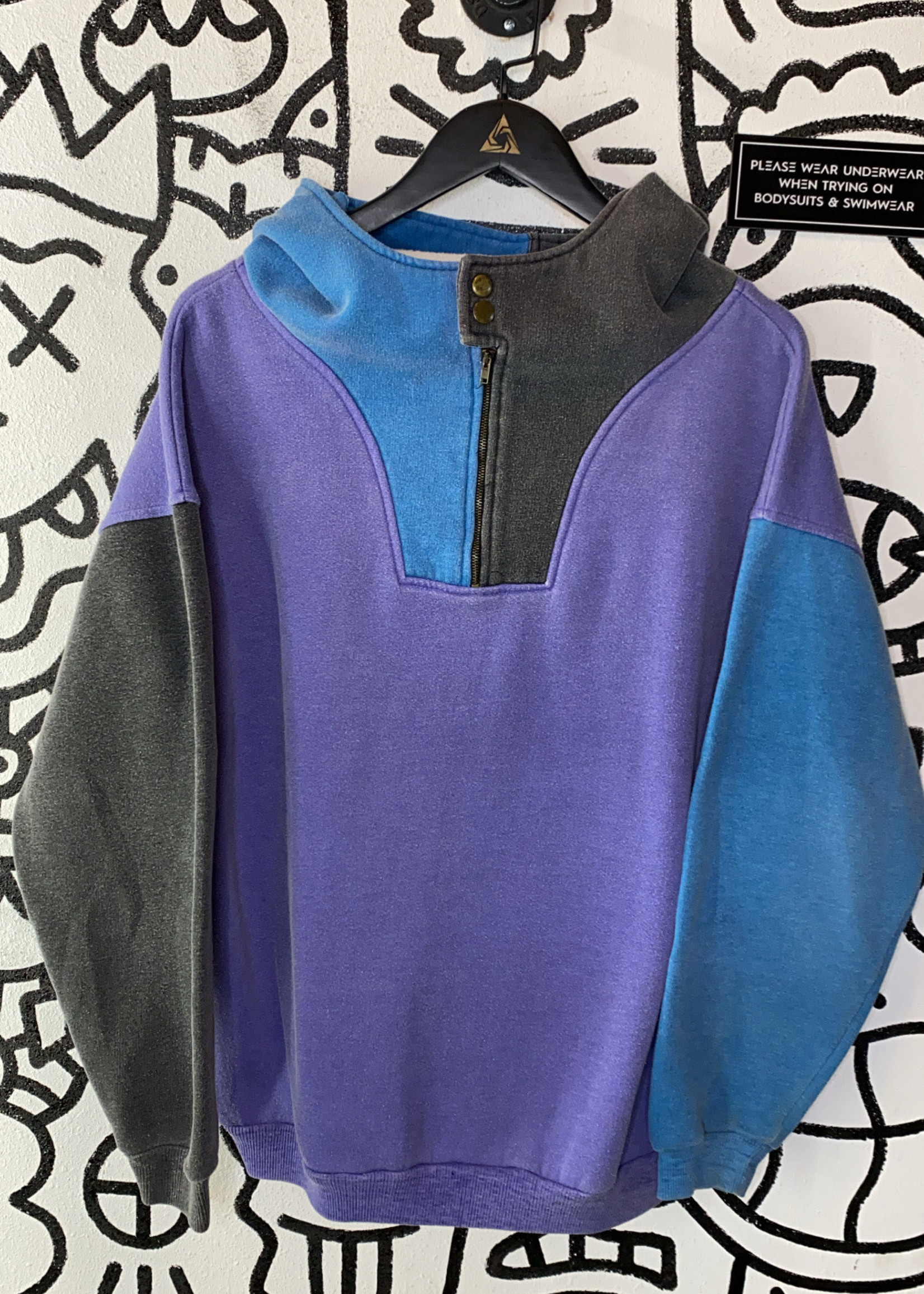 Vintage No Label Faded Colorblock 1/4 Zip Sweater L