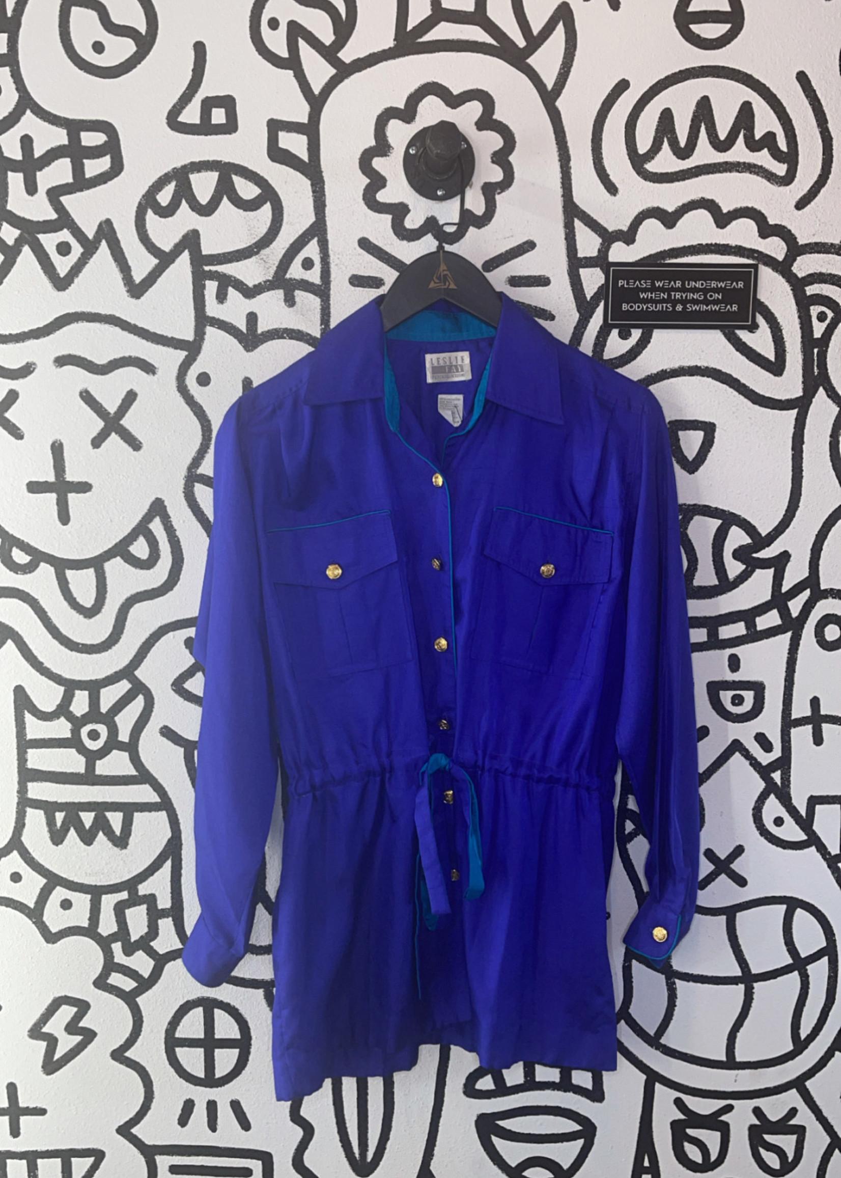 Leslie Fey Vintage Purple Button Down Cinch Jacket 6 M