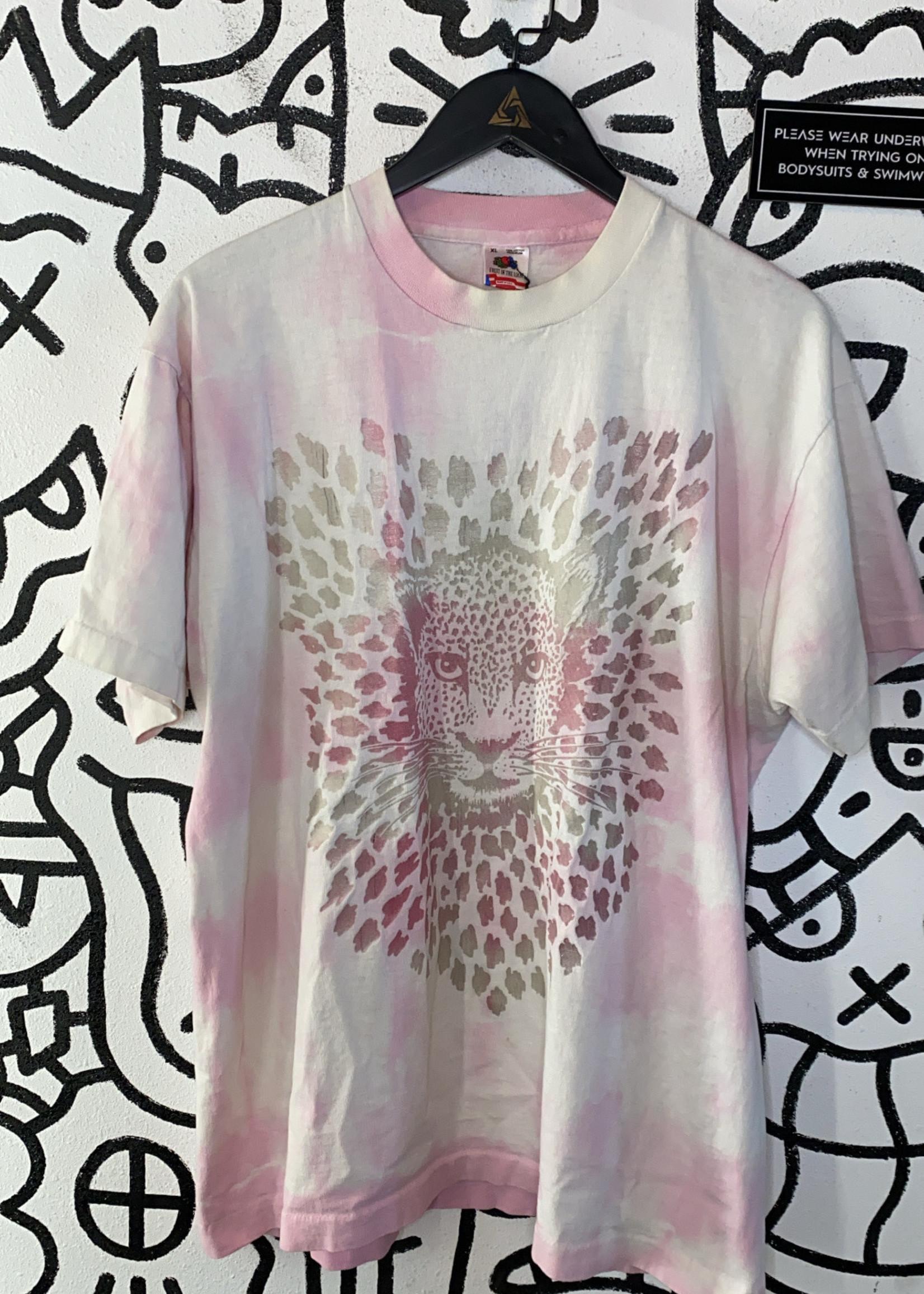 Vintage Pink Tie Dye Cheetah Tee XL