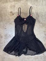 Betsey Johnson black pink accents polkadot lingerie M