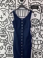 Eva Mendes denim button down dark blue dress XS