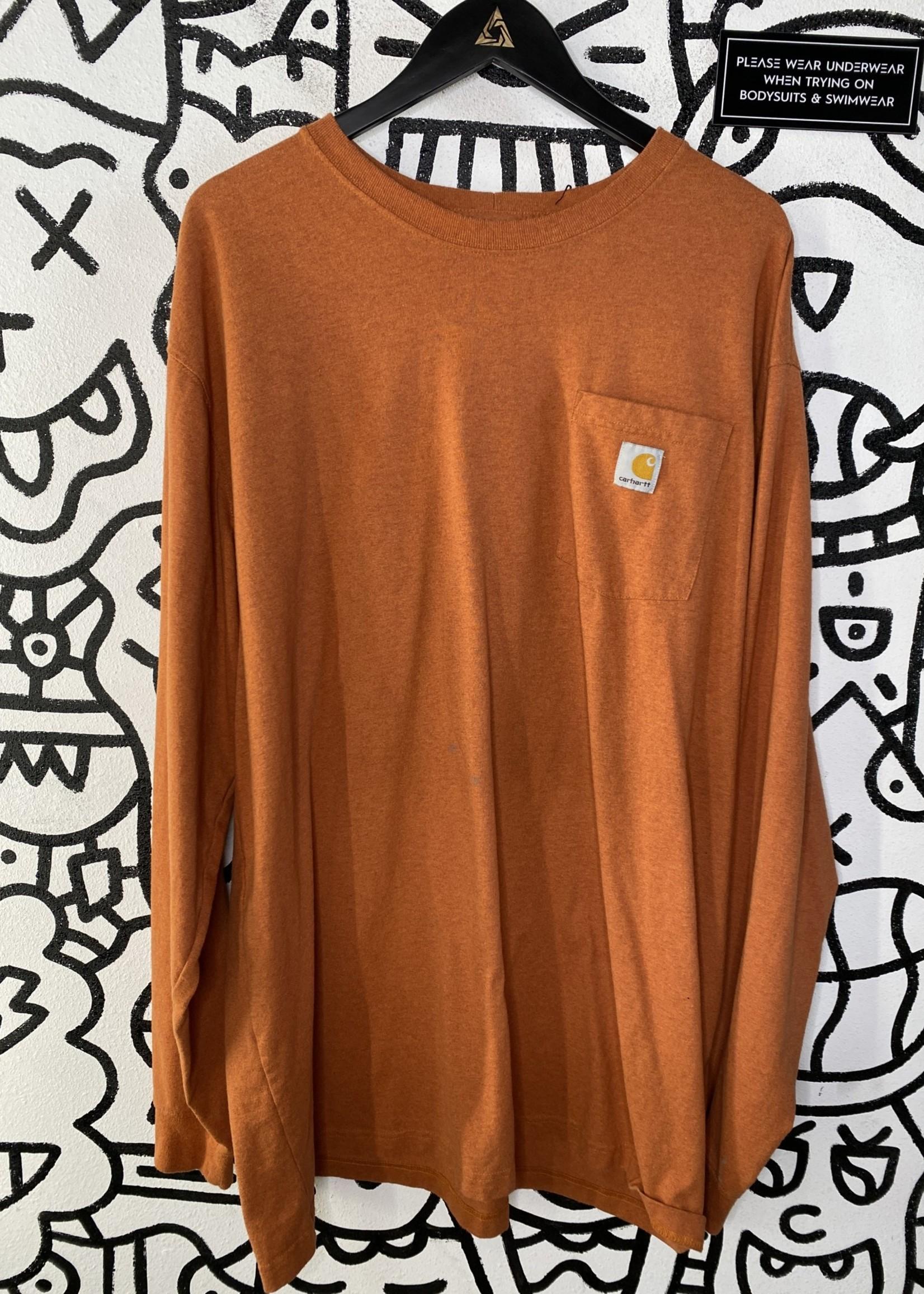 Carhartt Orange Long Sleeve Pocket Tee 2XL Tall As Is