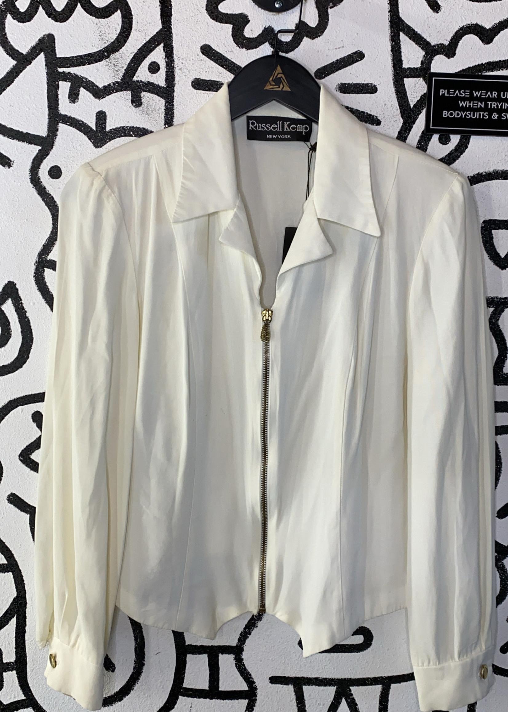 Russel Kemp Vintage White Long Sleeve Zip Top