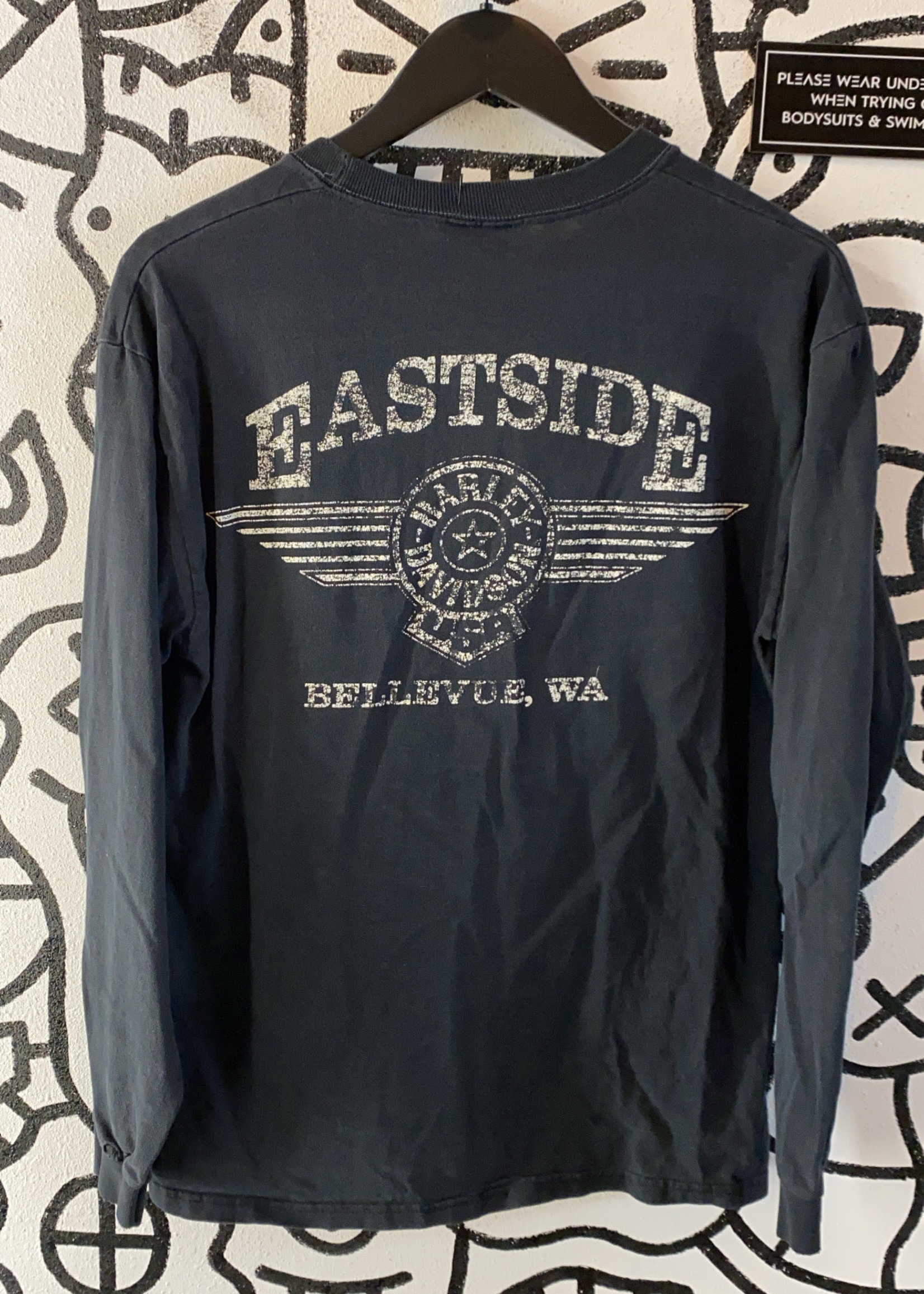 Vintage Harley Eagle Faded Graphic Black Long Sleeve S
