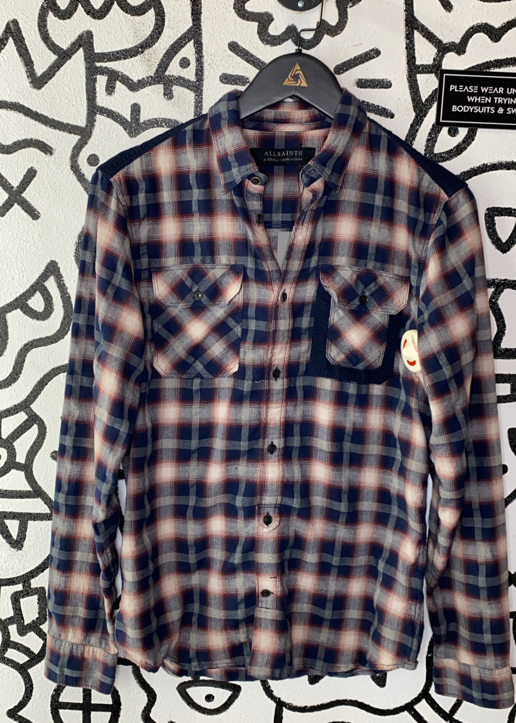 Allsaints Rede navy bue button up flannal XS