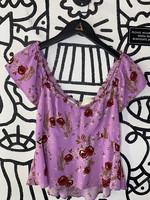 Rowa Purple Floral Print Blouse Top S