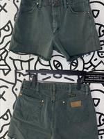 "Vintage Wrangler Green Cutoff Jean Shorts 32"""