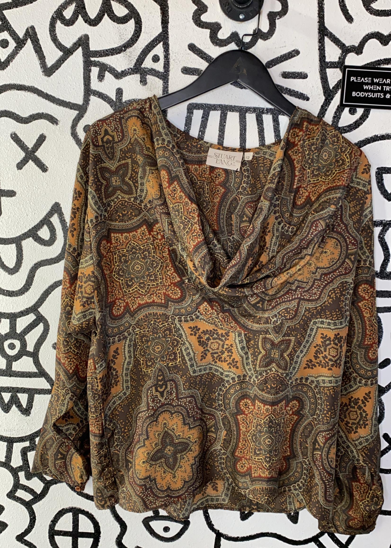 Vintage Stuart lag off the shoulder patterned blouse XL