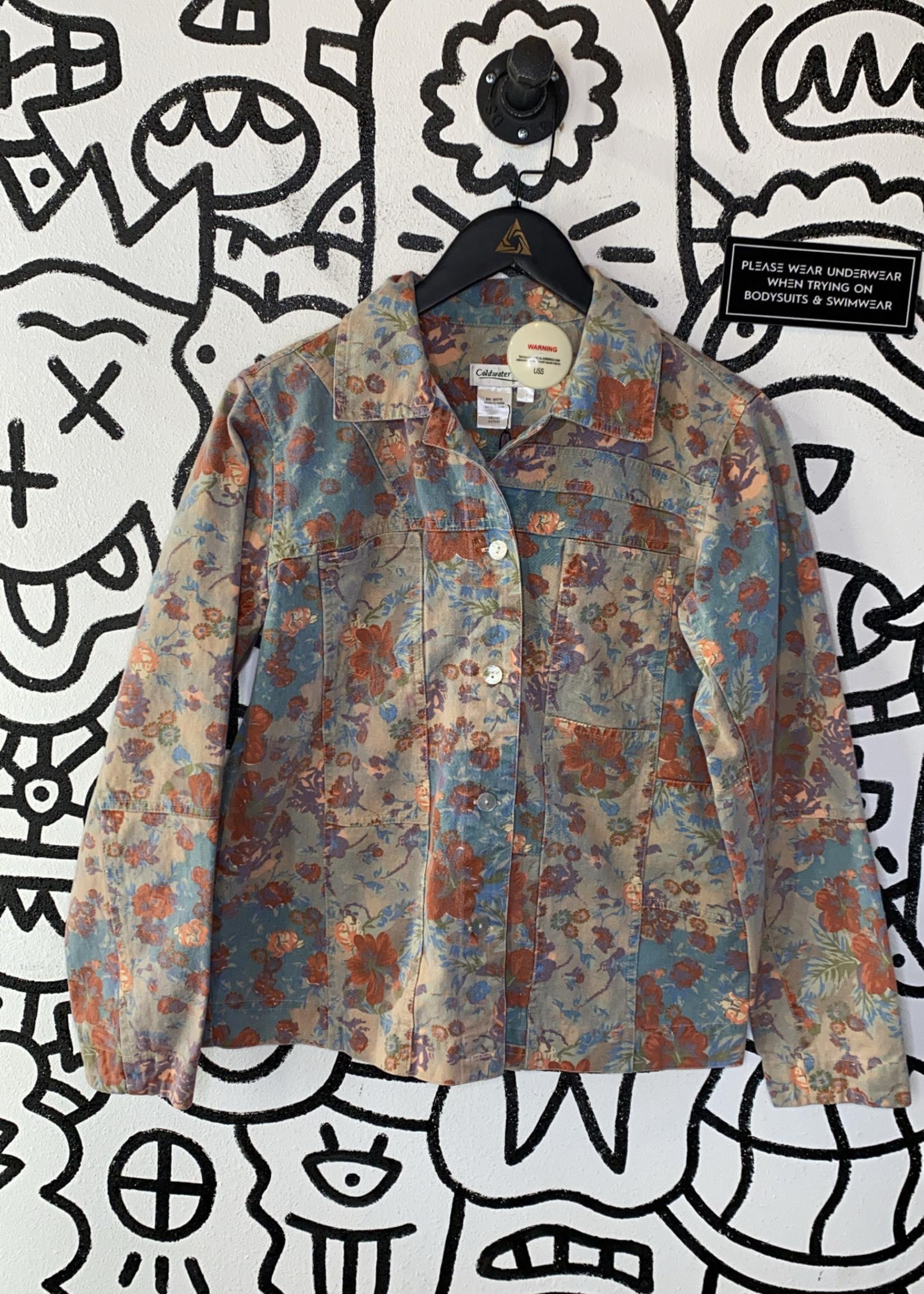 Coldwater Creek floral denim jacket S