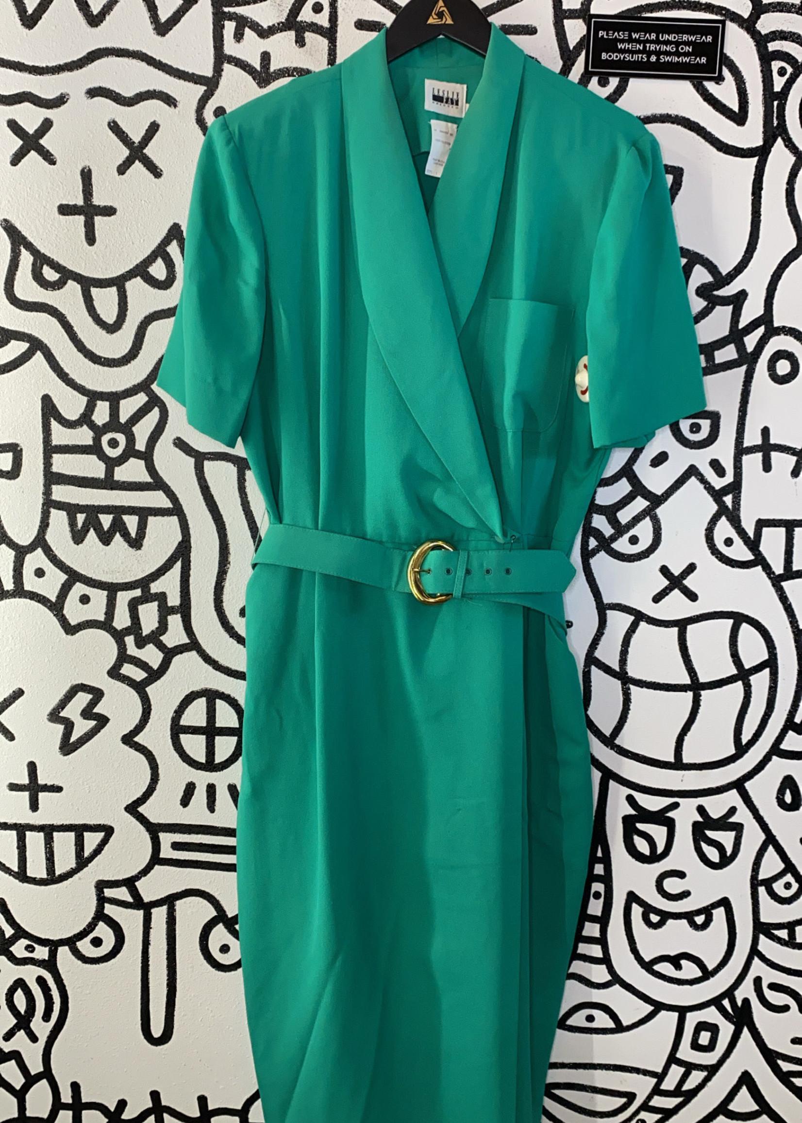 Vintage Leslie Fay green dress 2XL