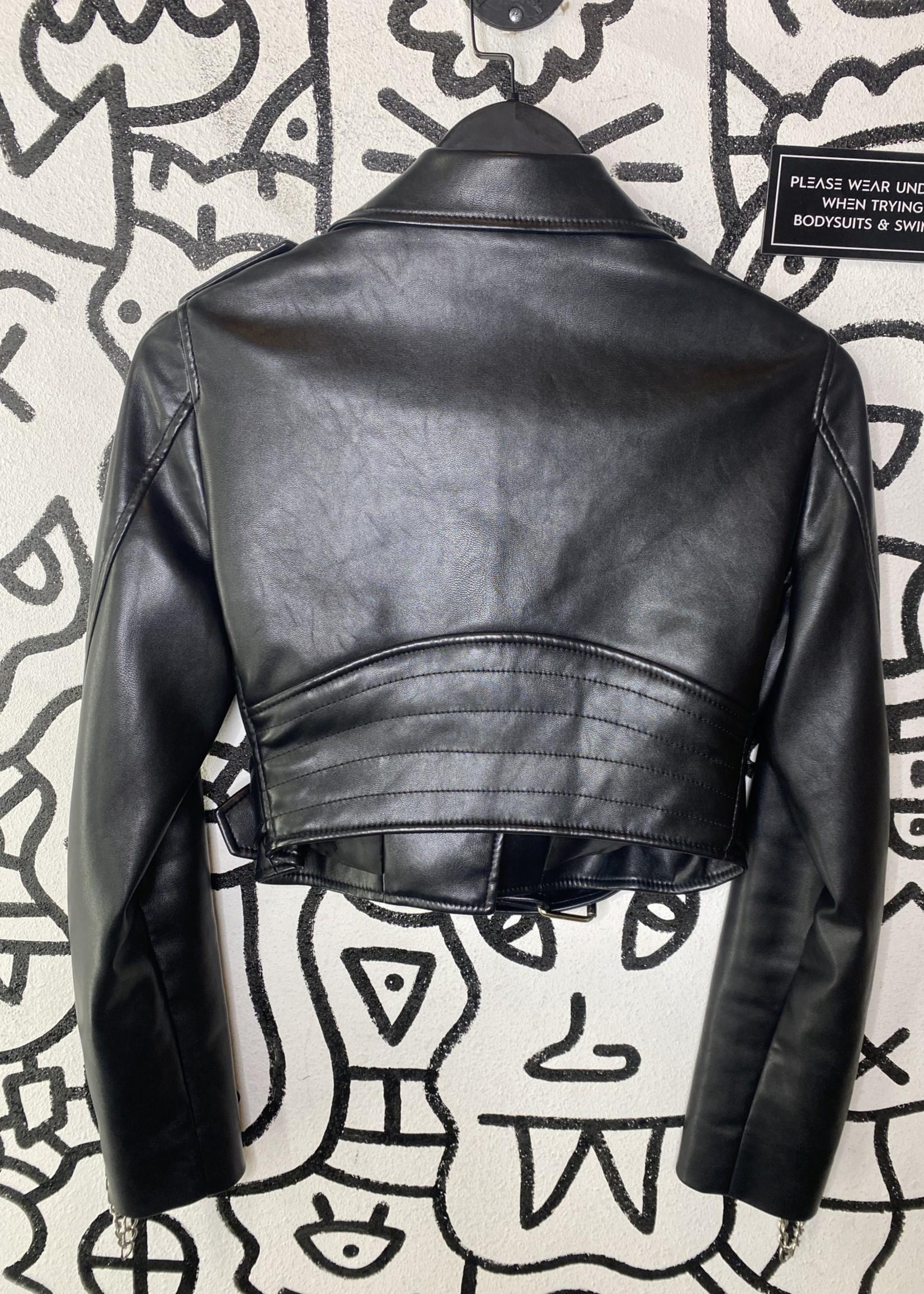 Moschino Runway Vegan Leather Cropped Moto Jacket Spring 2018 (Retail: $2600)