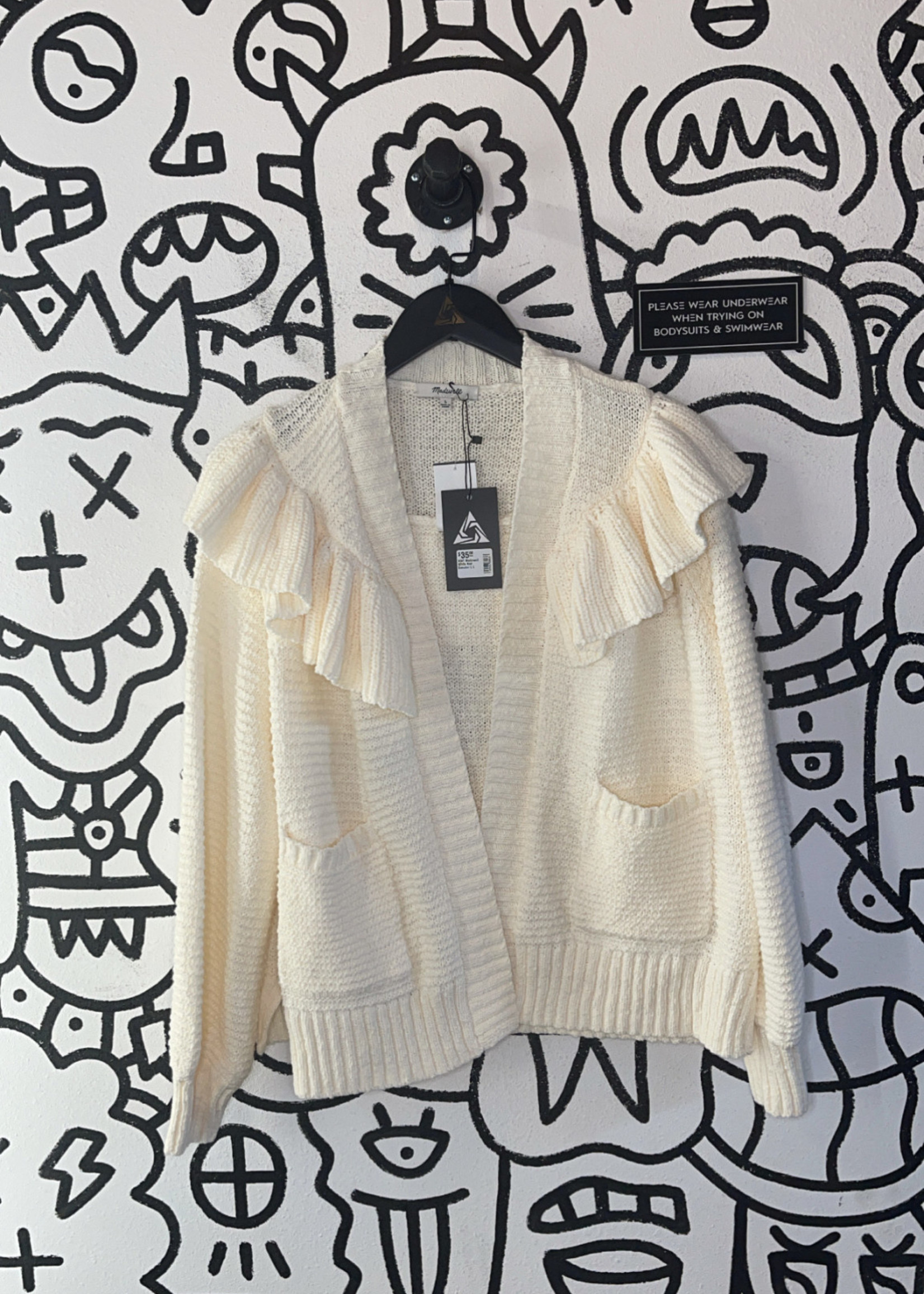NWT Madewell White Knit Sweater L