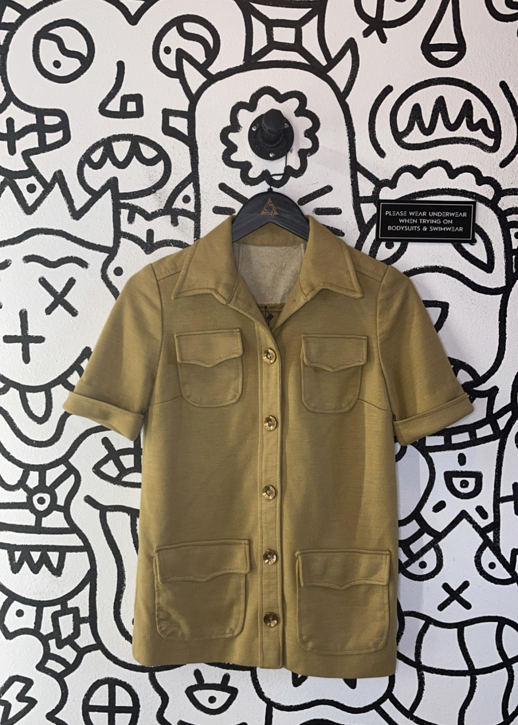 Vintage No label brown 4 pocket button up XL