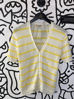 Vintage sweater bee yellow and white knit short sleeve L