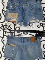 levis patchwork cut off shorts 30