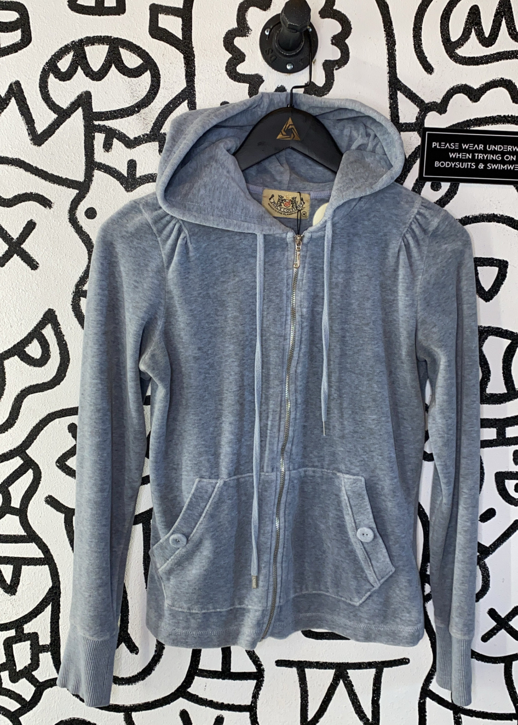 Juicy Couture grey velour track jacket M