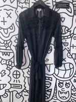 Uli Herzner Designer Black Sheer Button Down Dress M (Retail: $200+)
