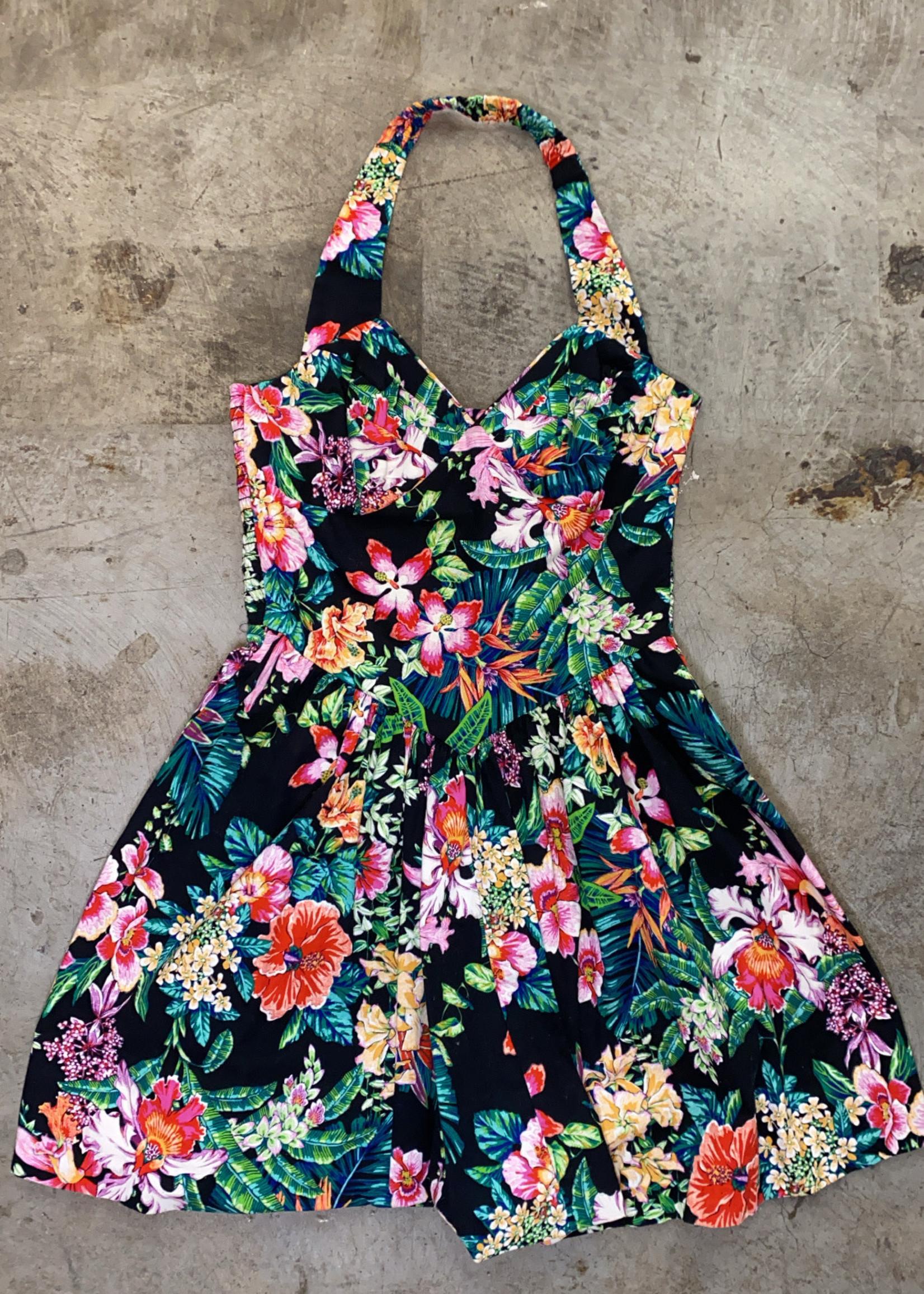 Byer too multi color floral halter dress M