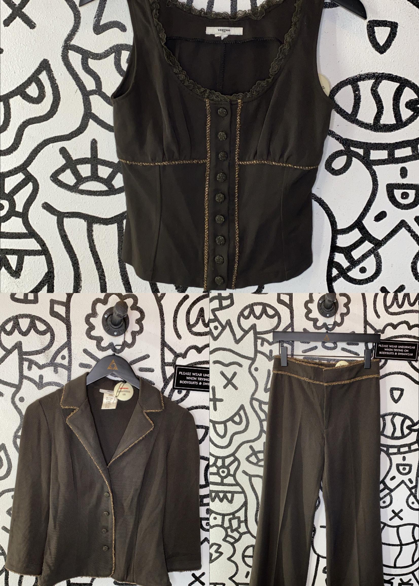 Vintage Vertigo paris top pant and jacket set S