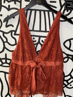 NWT Free People Red Lace Tank S