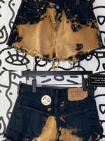 Levi acid washed yellow and black shorts 31