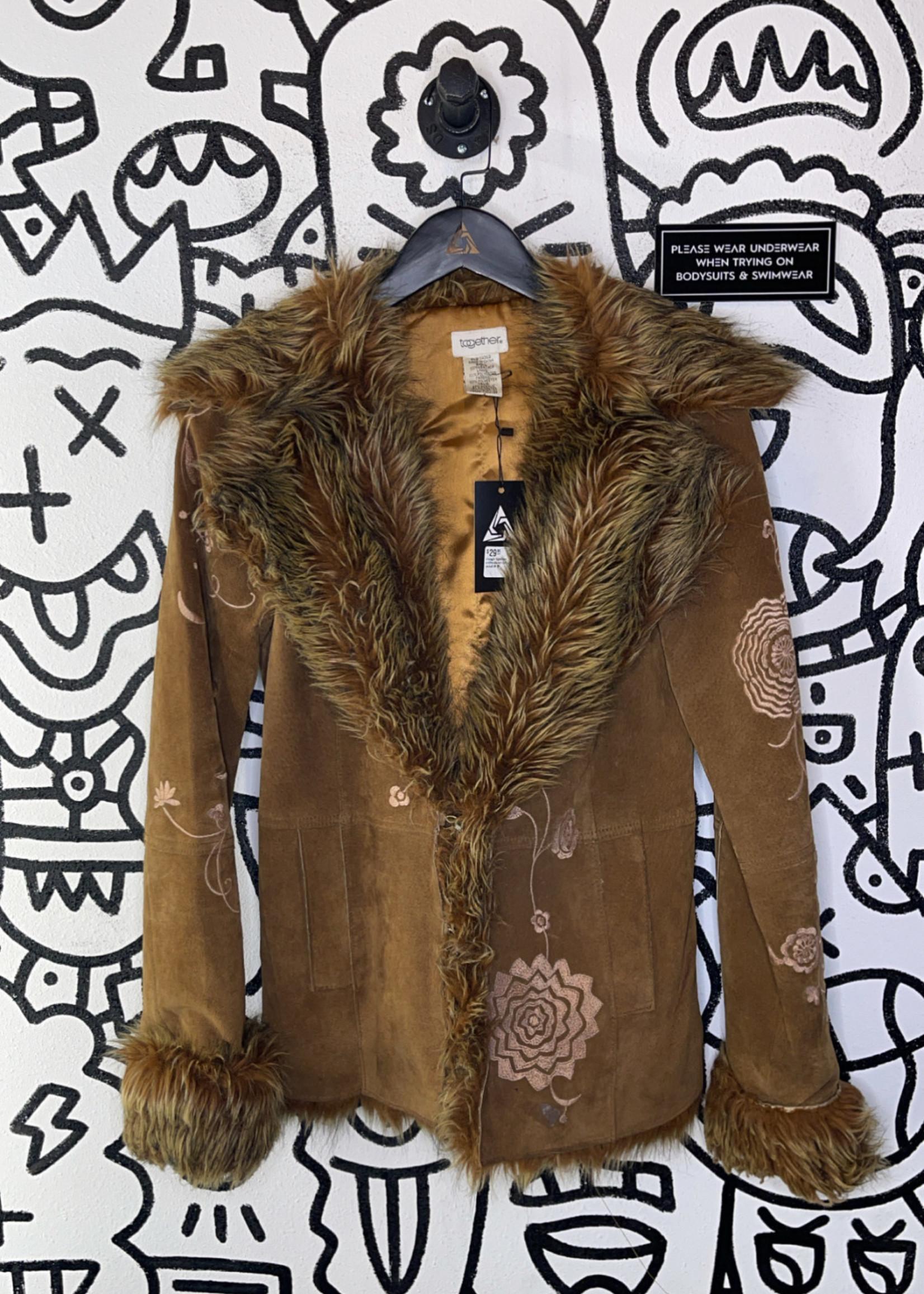 vintage together embroidered fur jacket M