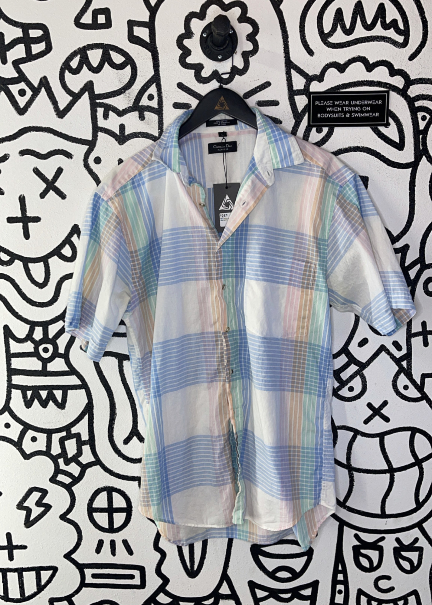 Dior button up plaid shirt L