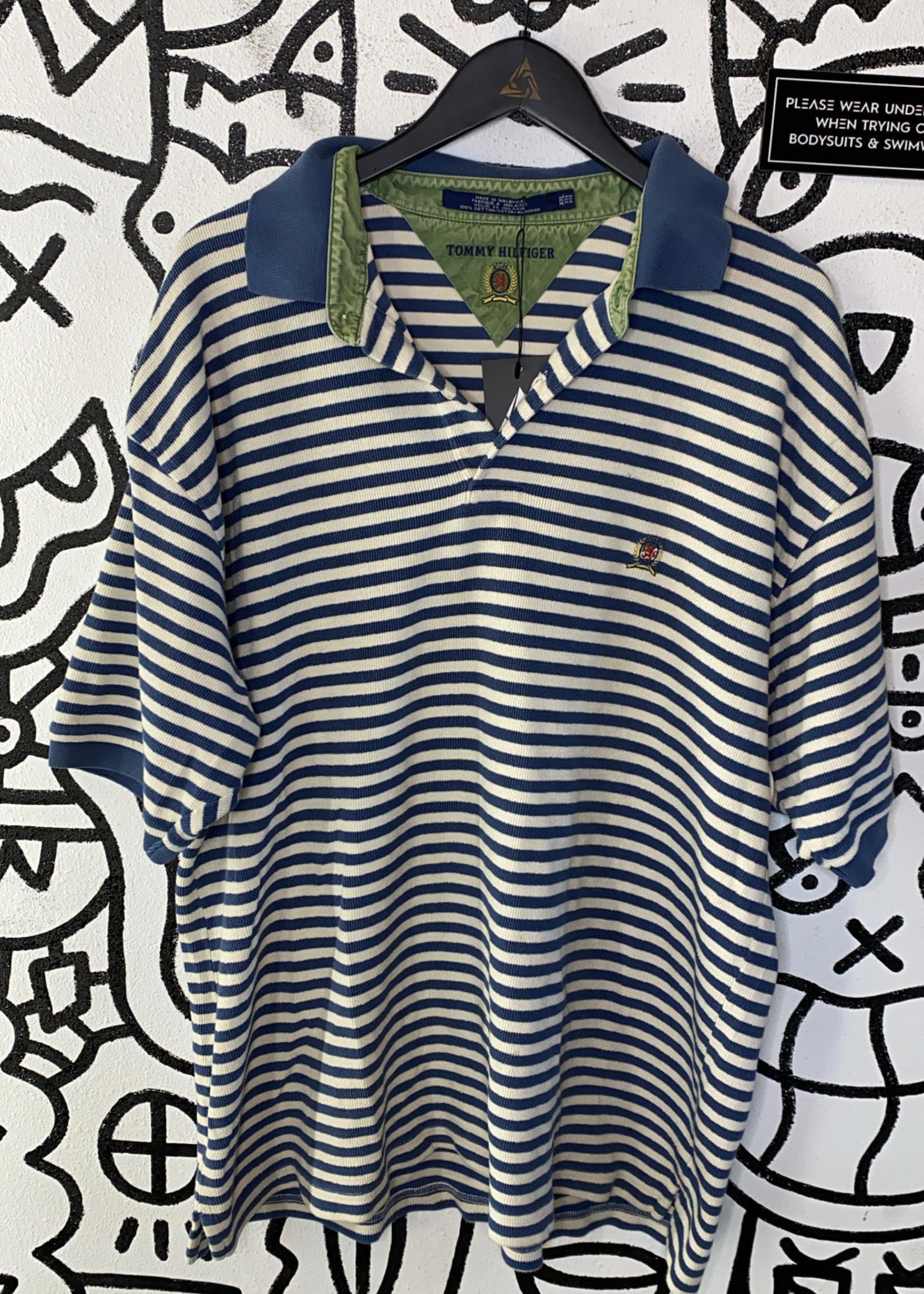 Vintage Tommy Hilfiger Blue/White Striped Polo Shirt XXL