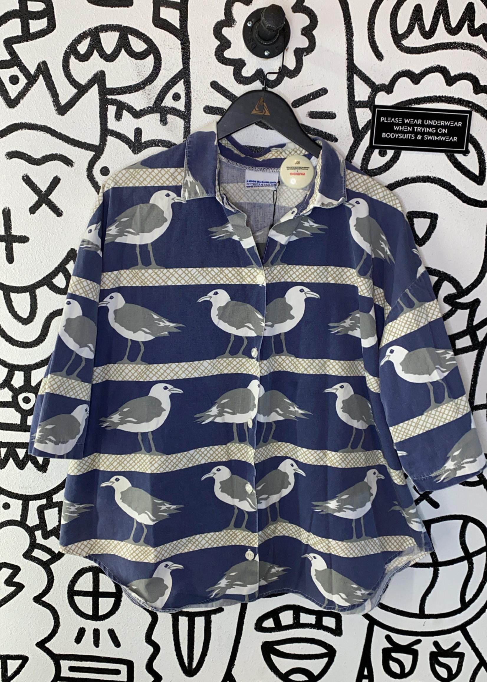 Vintage Michigan Rag Blue Seagull Shirt XL