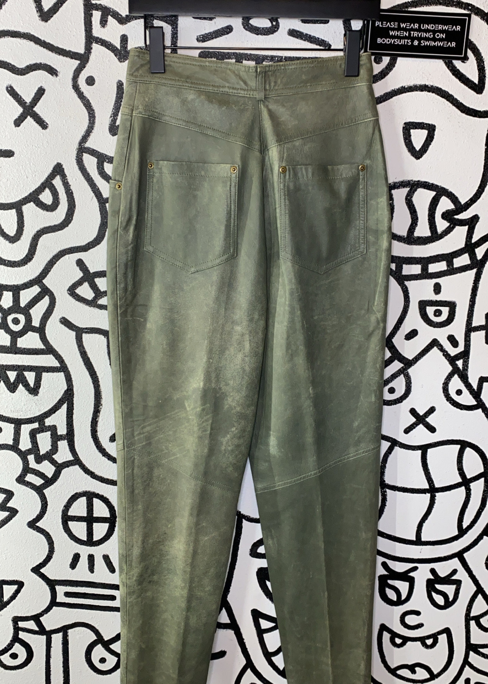 """Leather EPB green leather Pants 27"""""""