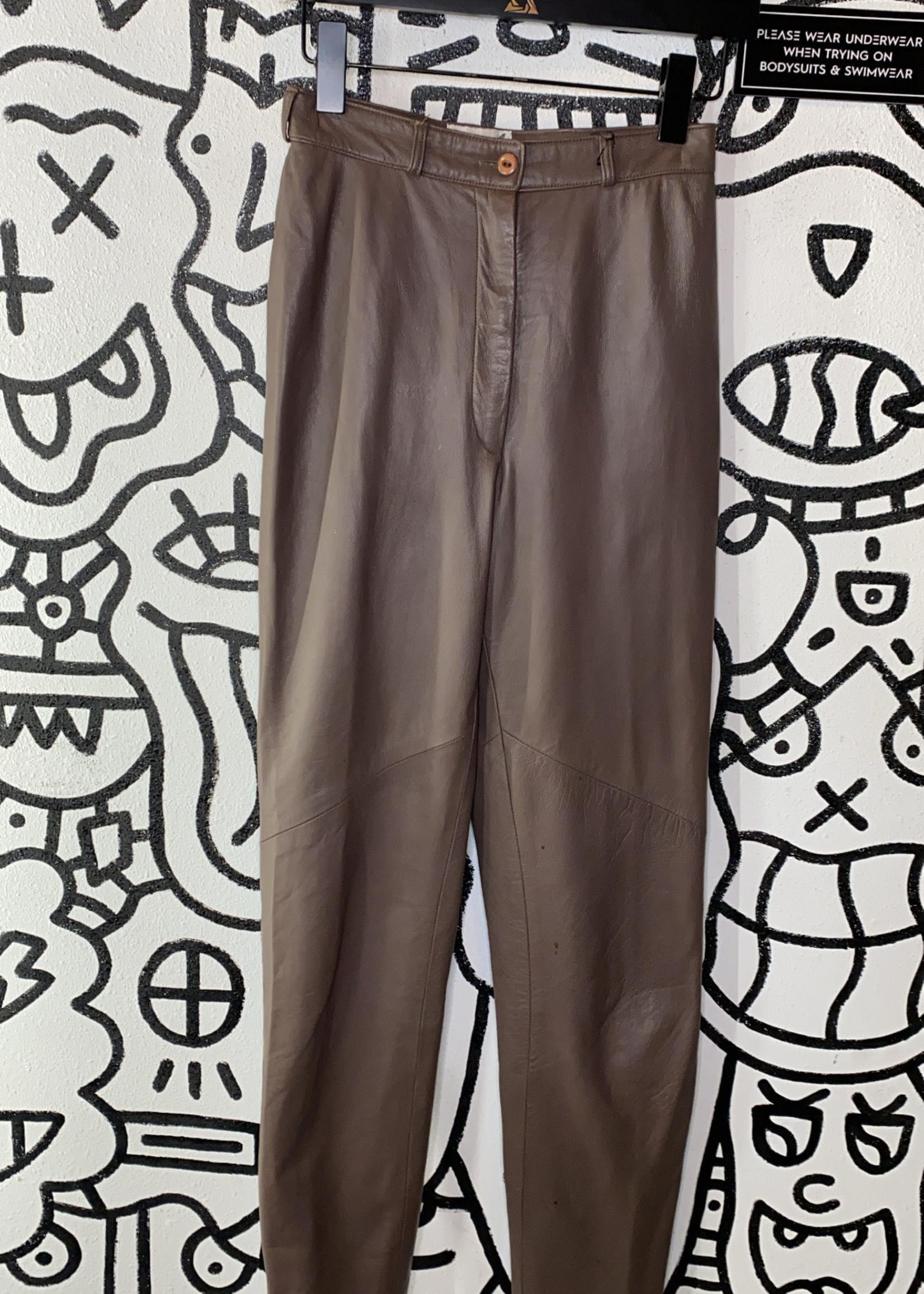 "Vintage Vakko brown high waisted leather pants 25"""