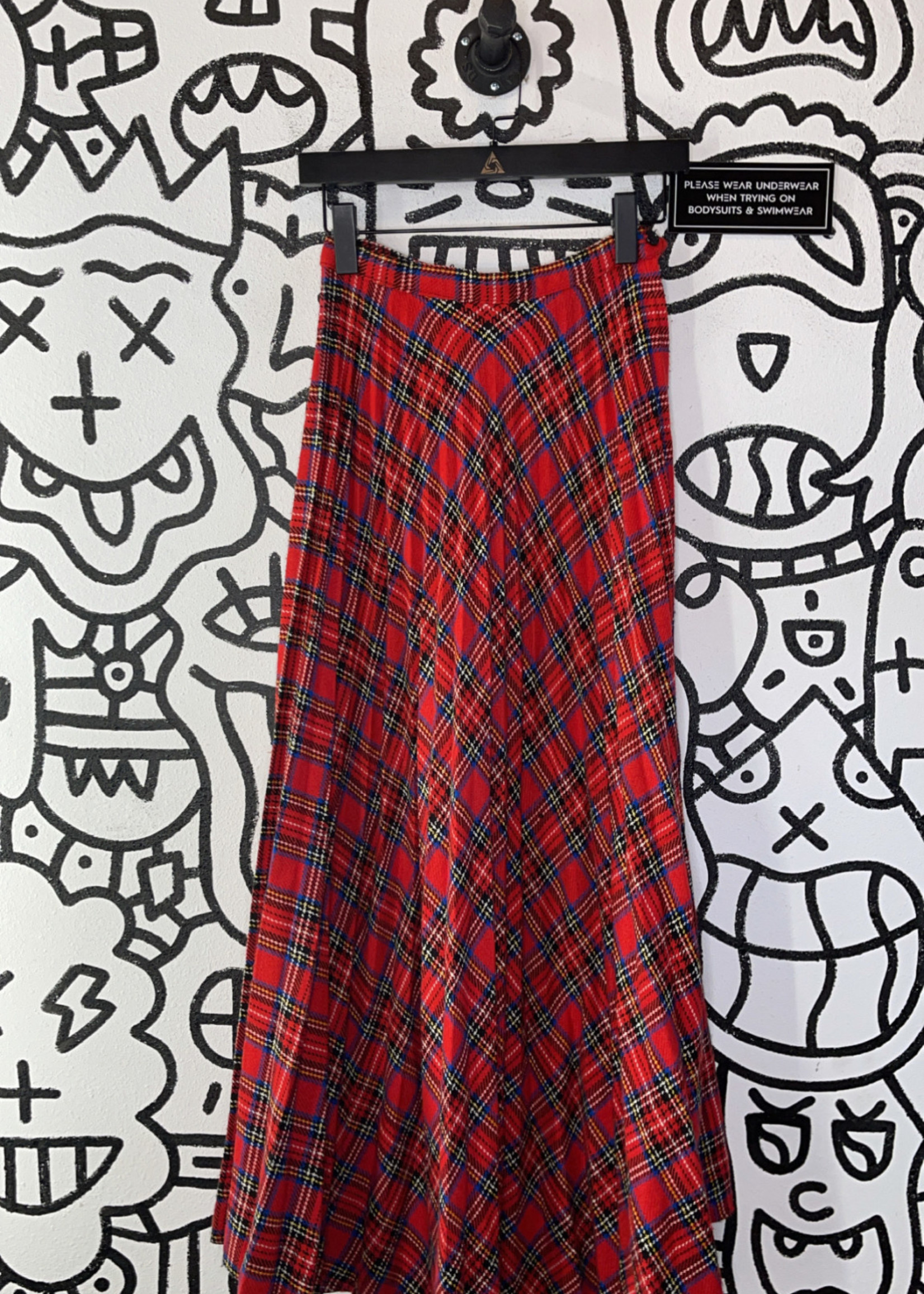 Vintage No Label Red Wool Plaid Skirt XS